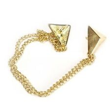 SIMPLE GOLD TRIANGLE TRI-FORCE ZELDA COLLAR TIP CHAIN PINS REBEL ROCK ALT