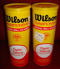 Vintage Wilson Tennis Ball Cans, with balls, 1984, metal, 2 cans