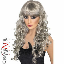 Ladies Siren Wig Silver Long Curly Gothic Halloween Fancy Dress Glamour New