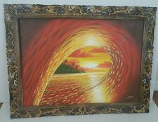 Original large oil painting ocean surfing beach frame carved signed wall art