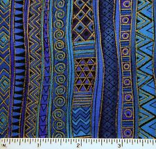 "Laurel Burch Basics horse Blue stripe border quilt Cotton VERY RARE OOP 44"" wide"