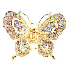 USA VINTAGE Hair Claw Clip Rhinestone Crystal Hairpin Butterfly Elegant Gold 7-3