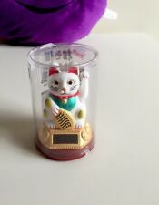 """3.5"""" Solar Powered Moving Hand White Maneki Neko Lucky Cat Cute and Mini Gift"""