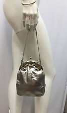VINTAGE ROSENFELD PURSE SILVER LEATHER AND METAL FABULOUS EVENING BAG