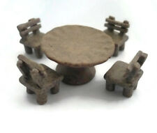Dollhouse Miniature 1 Table and 4 Chairs Furniture Supply Deco Garden