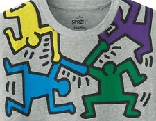 KEITH HARING x UNIQLO 'Dancing Men' SPRZ NY MoMA Art T-Shirt M Gray **NWT**