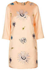 BNWT Topshop Embroidered Peach Satin Shift Dress, Size 12, RRP £65