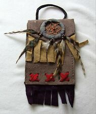 Brustbeutel grau 233 Halskette Dreamcatcher schwarz Leder Traumfänger necklace