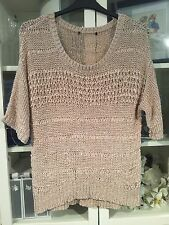 765 George Size 14 Stone Loose Ribbon Crochet Knit Baggy Jumper