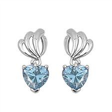 Heart Shape Aquamarine Fashion .925 Sterling Silver Earrings