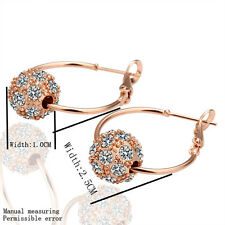 Promotion Price 18K Rose Gold GP Fashion Crystal Smart Ball Hoop Earrings E009