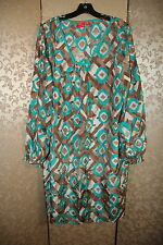 O Oscar de la Renta Blue Green Brown Multi-Color Silk Dress 16