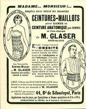 """Publicité Ancienne """" Ceintures-Maillots M. GLASER 1926 ( P38 ) Issu Magazine"""
