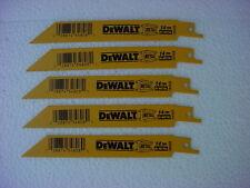5) DEWALT DW4808 6-Inch 14 TPI Straight Back Bi-Metal Reciprocating Saw Blade