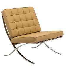 Barcelona Style Modern Leather Pavilion Chair in Light Brown