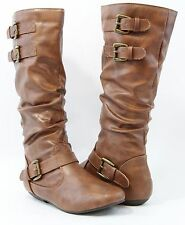 Women Fashion Mid Calf Adjustable Buckle Design Boots Comfortable Cool Shoes