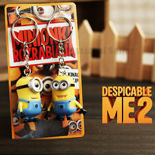 2 Pcs Despicable Me 2 Minion Toy Rubber Key Ring 3D Eyes Keychain Kids Toy Gift