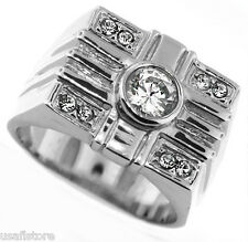 6MM Clear Round Stone Classic Silver Rhodium EP Ring Size 12