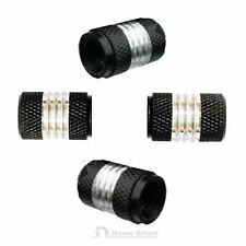 4 x Aluminium Valve Dust Caps / Black & Silver / Car Bike Van Bmx Dustcaps Metal