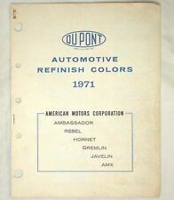 1971 AMC DUPONT   COLOR PAINT CHIP CHART JAVELIN AMX  MORE