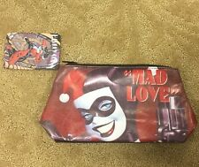 DC Comics Harley Quinn Faux Leather Makeup Cosmetic Bag Slight Scuff NWT!