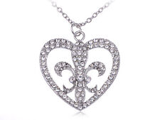 Bling Crystal Clear Rhinestone Fancy   Fleur De Lis Heart Pendant Necklace