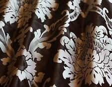 "Brown/Antique Silver Damask Jacquard 100% Silk Fabric 55"" Wide, By Yard JD-44151"