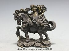 Chinese Bronze Bride and groom Horse Ride Horse Feng Shui Attract Wealth Statue