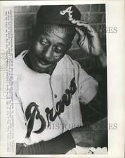 """1968 Press Photo Leroy """"Satchel"""" Paige in Atlanta Braves' dugout in Chicago"""