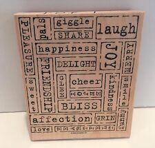 Stampin Up WORD BY WORD Sayings Greetings Phrases Background Rubber Stamp