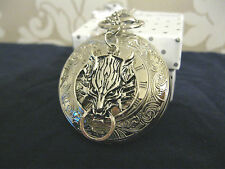 New Wolf Steampunk Goth Silver Roman Pocket Watch Necklace Jewellery Gift