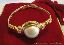 Stylish Vintage Monet Gold Tone Bracelet w White Dome Center & Crystal Accents
