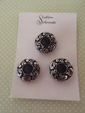 3 Vintage Glass Buttons Black Schwanda Card craft sew jewelry scrapbo knit quilt