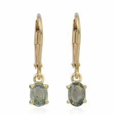 Green Sapphire Lever Back Earrings in 14K Gold Overlay Sterling Silver 1.250cts