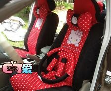 18PCS New Hello Kitty Universal Black and Red Car Seat Covers