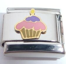 HAPPY BIRTHDAY CAKE 9mm Italian Charm Pink Purple Candles fits Classic Bracelet