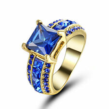 Size 7 18K Gold Plated Rhodium Blue Sapphire Wedding Engagement Propose Ring