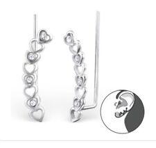 Sterling Silver 925 Hearts Ear Wrap Cuff