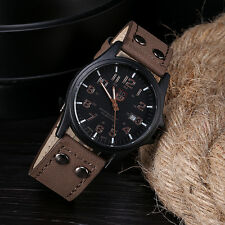Casual Mens Watch DAILY Waterproof Date Leather Strap Sport Quartz Army Watch D3