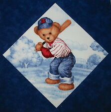 9 Baseball Blue Jean Teddy Bear Quilt Top Blocks ~ FREE USA Shipping