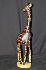 Old Vintage Hand Carved Wooden Giraffe Figurine Tribal Art African Safari Decor