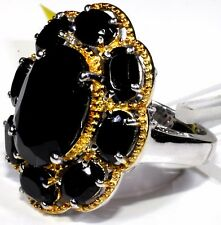 Thai Black Spinel Ring 14K YG Platinum Overlay Sterling Silver (Size 5) 14.1 Cts