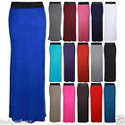 NEW WOMENS CONTRAST ELASTIC WAIST STRAIGHT WOMENS LONG MAXI DRESS SUMMER SKIRT