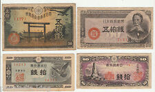 4 Different Old Bank note of Japan ~~ circulated / F