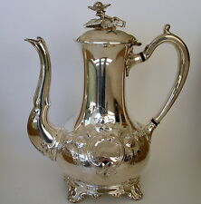 VINTAGE SHEFFIELD SILVER PLATE LARGE ORNATE COFFEE POT.