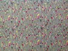 ~FLANNEL~Feathers~Grey~Pink~Pastel~Flannelette~Quilting~Fabric~Girls~Baby~FQ~