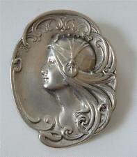 Hudson Pewter Art Nouveau Lady Woman Head Brooch Pin Pendant Silver