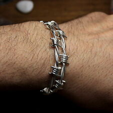 Barbed wire bracelet in solid sterling silver