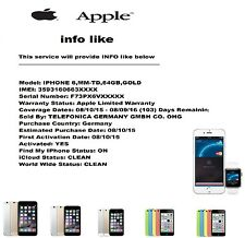 IPhone Apple 6 5 4 e altri dispositivi info (venduti da + FMI + iCloud + WW) con codice IMEI