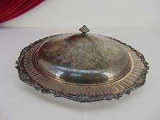 "Oneida 14"" Round Lidded Serving Tray Silver Plate Divided Glass Insert Dish"